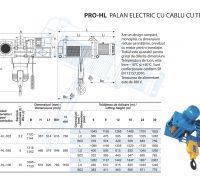 PRO-HL Palan Electric cu Cablu cu Troliu