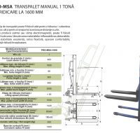 PRO-MSA Transpalet Manual 1 Tona cu Ridicae la 1600 MM