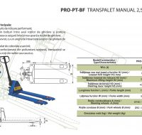 PRO-PT-BF Transpalet Manual 2,5 Tone