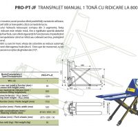 PRO-PT-JF Transpalet Manual 1 Tona cu Ridicare la 800 MM